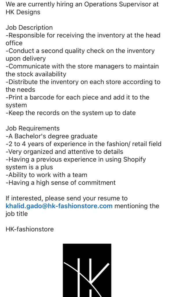 Operations Supervisor at HK Designs